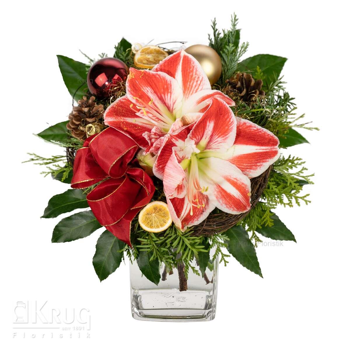 Blumenstrauß mit Amaryllis rot-weiß