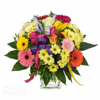 Strauß bunte Blumen zB mit Gerbera, Rosen, Chrysanthemen