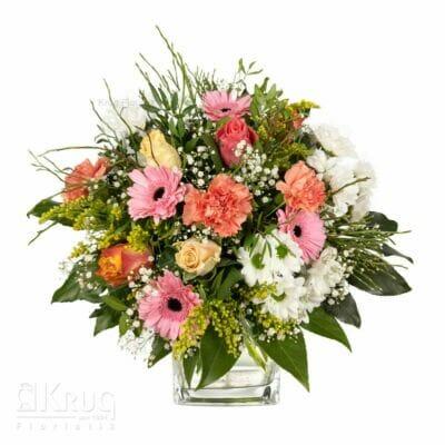 bunter Strauß Blumen mit Rosen, Nelken, Schleierkraut und mehr