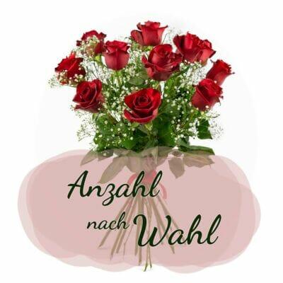Wie viele rote Rosen möchtest du als Blumenstrauß? Optional mit weißem Schleierkraut.