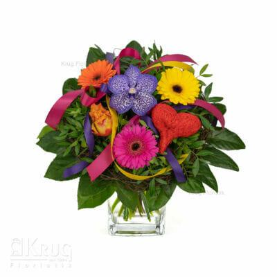 bunter Strauß Blumen mit Herz, Rose, Vanda Orchidee und Germini