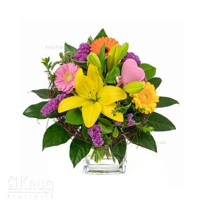 kleiner Bunter Blumenstrauß mit Herz, Lilie und Gerbera