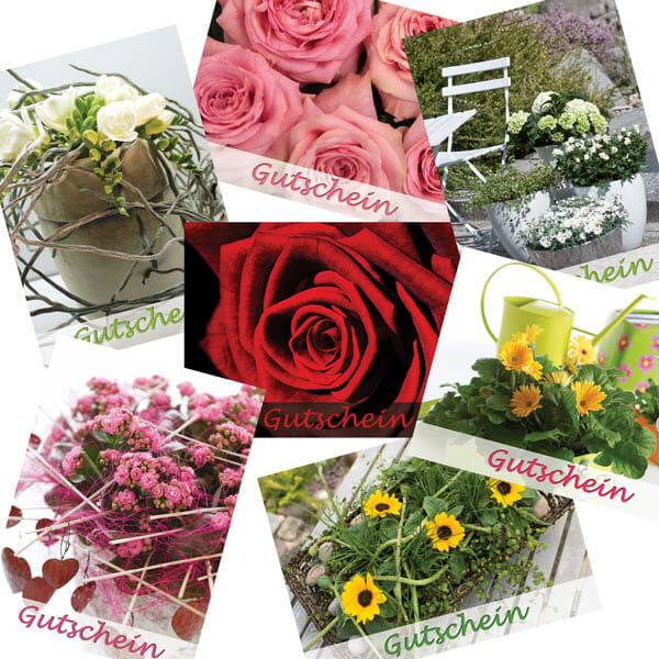 Gutscheine mit verschiedenen Blumen-Motiven